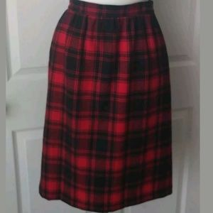 Pendleton Vintage Red Black Plaid Wool Skirt